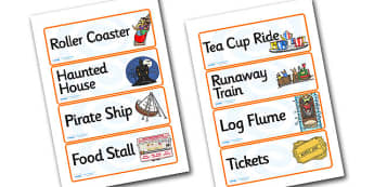 Theme Park Role Play Labels - theme park, role play, labels, theme park labels, role play labels, theme park role play, labels for theme park, ride labels