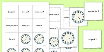 Telling the Time Words Analogue Pelmanism Game With 5 Minute Intervals - telling the time, game