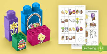 Easter Matching Connecting Bricks Game - EYFS, Early Years, KS1, Connecting Bricks Resources, duplo, lego, plastic bricks, building bricks, E