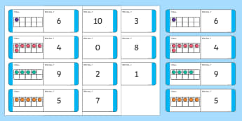 Ten Frame Loop Cards - CfE Addition with Number Frames, maths numeracy intervention, ten frame, numeral recognition to 10,