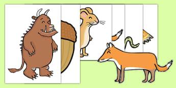 The Gruffalo A4 Cut Outs - the gruffalo, a4, cut outs, gruffalo, story book, story, book