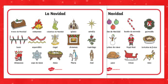 Christmas Word Mat - spanish, Christmas, xmas, word mat, writing aid, tree, advent, nativity, santa, father christmas, Jesus, tree, stocking, present, activity, cracker, angel, snowman, advent, bauble