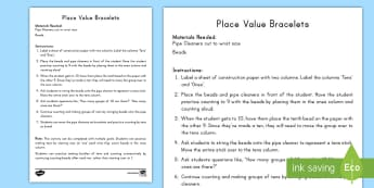 Place Value Bracelets Activity - tens, ones, bundling, place value, regrouping