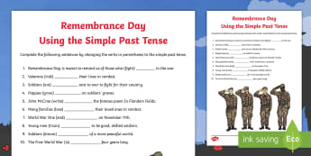 Remembrance Day Simple Past Tense Activity Sheet - grammar, spag, verb tense, sentence structure, november 11, WW1, WW2