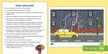 Stormy Night Oral Language Activity Sheet Gaeilge - Teanga ó Bhéal, oral language, weather, storm, gaeilge, aimsir
