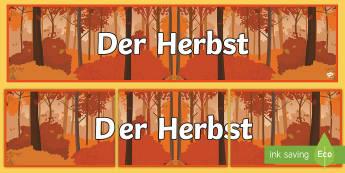 Autumn Topic Banner German - Autumn, German, Herbst, Languages, MFL, Banner