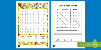 Uluru Dreamtime Word Search - Aboriginal history, Indigenous history, Australian history,Aboriginal creation, australian geography