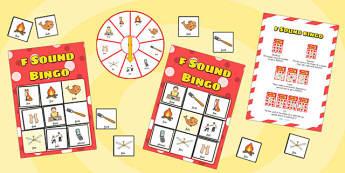 f Sound Bingo Game with Spinner - f sound, sound, sounds, bingo