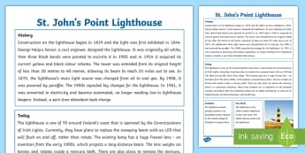 Northern Ireland St. John's Point Lighthouse Fact Sheet - Buildings, Historic, Place, Significant, Locality