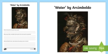 Water by Arcimboldo Activity Sheet - art appreciation, The Admiral, Arcimboldo, artist, activity sheet, work sheet,Irish