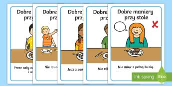 Plakaty Dobre maniery przy stole - stołówka, jedzenie, maniery, dobre, przy, stole, savoir-vivre, zachowanie, zakmięta, buzia, buzi