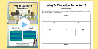 Pecking Order Why is Education Important? Powerpoint and Activity Sheet - Pecking Order, Diamond 9, Listening and Talking, Second Level, Prioritisation,Scottish