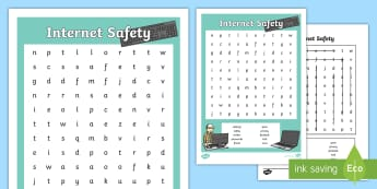 E Safety Word Search- internet, safety, word search, words