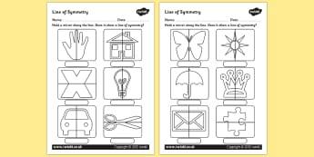 Line of Symmetry Worksheet - Mirror Symmetry Activity