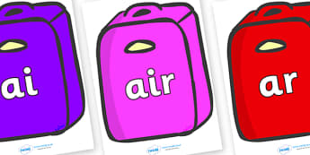 Phase 3 Phonemes on Suitcases - Phonemes, phoneme, Phase 3, Phase three, Foundation, Literacy, Letters and Sounds, DfES, display