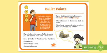 Bullet Points Punctuation A4 Display Poster - Bullet Points Punctuation A4 Display Poster - punctuation, literacy, display, puntuation, punctatuio
