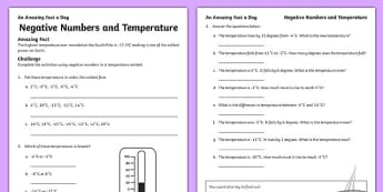 Negative Numbers and Temperature Activity Sheet, worksheet
