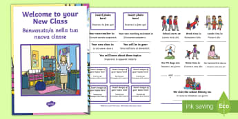 Welcome to Your New Class Booklet English/Italian - Welcome to Your New Class Booklet - welcome, new class, booklet, EAL