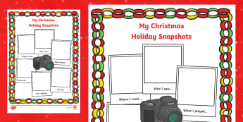 Christmas Holiday Snapshots Writing Frame - christmas, holiday