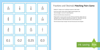 Matching Equivalent Fractions and Decimals Pairs Game - fractions, decimals, equivalence, pairs, card, game