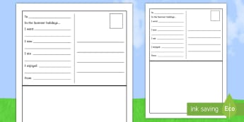 Summer Postcard Early Level Writing Activity Sheet - CfE Back to School Early Level, Back to School, New class, new school year, transition, getting to k