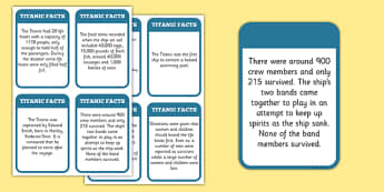 The Titanic Fact Cards - titanic, facts, history, visual aids