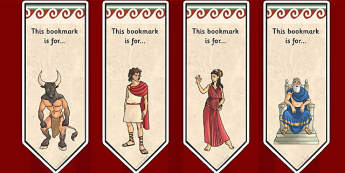Theseus and the Minotaur Editable Bookmarks - book mark, books