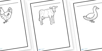 Farmyard Writing Frame - farmyard, writing frame, farm, animals, page border, writing template, cow, chicken, duck, sheep, lined pages, writing aid, themed, work sheet, worksheet, filling in
