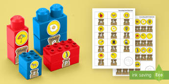 Pirate Treasure Initial Sound Matching Connecting Bricks Game - EYFS, Early years, KS1, Literacy, phonics, reading, letter recognition, alphabet, initial sounds.