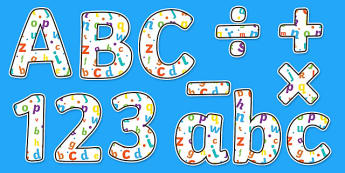 Alphabet Themed Display Letters and Numbers Pack - English Lettering, Literacy Lettering, Literacy display lettering, alphabet