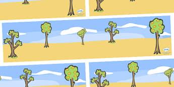 Handa's Surprise Small World Background - Handa's Surprise, Eileen Browne, resources, Handa, Akeyo, mango, guava, Africa, avacado, passion fruit, monkey, African animals, story, story book, story book resources, story sequencing, story resources, Sma