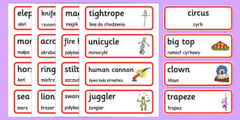 Circus Word Cards Polish Translation - polish, circus, word cards, word, cards, place