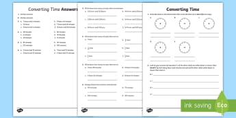 Converting Time Activity Sheet - Time, worksheet, reading time, converting time, time conversion, work sheet, activity sheet