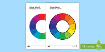Colour Wheel Visual Aid English/Spanish - colour, spectrum, primary colour, secondary colour, chart, complimentary, contrasting, black, white,