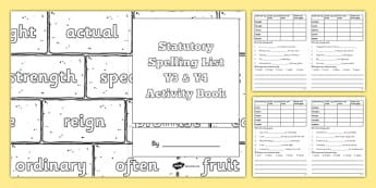 Statutory Spelling List Y3 and Y4 Activity Book - spellings, ks2, primary, lower key stage 2, revision, challenges
