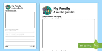 All About My Family Activity Sheet - English/Portuguese - Ourselves, me, myself, family, families, people, drawing, writing, names, all about me, all about my