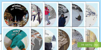Winter Display Photo Cut-Outs English/German  - eal, snow, ice, seasons, cold, frosty, German-translation