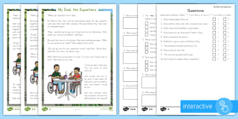 My Dad, the Superhero Differentiated Comprehension Go Respond  Activity Sheets - Father's Day, dad, superhero, baby pandas, veterinarian, reading comprehension, fictional story