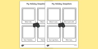 My Holiday Snapshots Writing Frame - my holiday, snapshot, writing frame, writing, frame, holiday