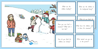 Winter Snowman Scene and Question Cards
