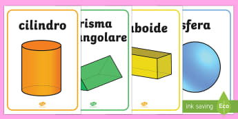 Forme Geometriche 3D Poster format A4 - geometria, forme, geometriche, cubo, cono,  italiano, italian