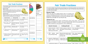 KS2 Fair Trade Fractions Differentiated Activity Sheets - Key Stage Two, Key Stage 2, KS2, Maths, fractions, percentages,  Solve problems involving increasing