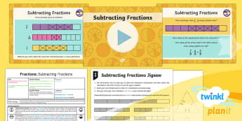 PlanIt Y4 Fractions Add and Subtract Fractions (2) Lesson Pack - Fractions, subtract fractions, subtracting fractions, take away fractions, fraction bars,  Add and s