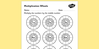 Multiplication Wheels Worksheet - multiplication wheels, times tables, multiplication worksheets, times table worksheets, ks2 numeracy, multiplication