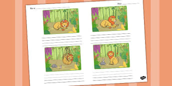 The Lion and the Mouse Storyboard Template - storyboard, lion