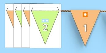 Guirlande de fanions de 0 à 20 avec cartes à points - numération, frise numérique, guirlande, fanions, compter, to count, nombre, number, math, mathématiques, cycle 1, cycle 2