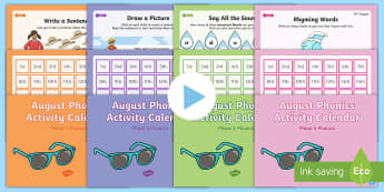 August Phonics Activity Calendar PowerPoint Pack - Reading, Spelling, Game, Starter, Sounds