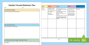 Solution Focused Behaviour Planning Template - ASN, support for learning, behaviour, behaviour plan, behaviour planning, solution focused plan, sol