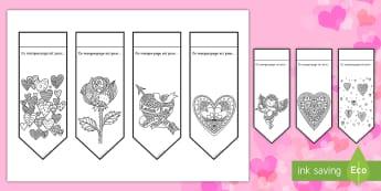 Marque-pages : Coloriages anti-stress - La Saint Valentin - Saint-Valentin, Valentine's Day, février, February, love, amour, amoureux, fleurs, flowers, gift,