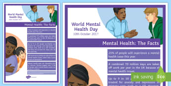 Mental Health Statisitcs 2 A4 Display Poster - Mental Health awareness day, mental health, wellbeing, depression, anxiety
